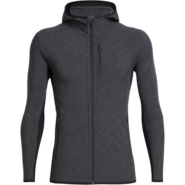 Icebreaker Descender LS Zip Hood Herr Jet Heather/Black