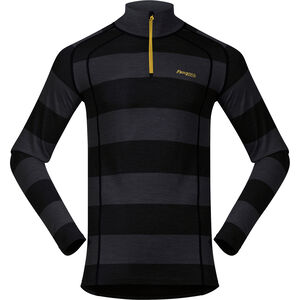 Bergans Fjellrapp Half Zip Shirt Herr Solid Charcoal/Black Striped Solid Charcoal/Black Striped