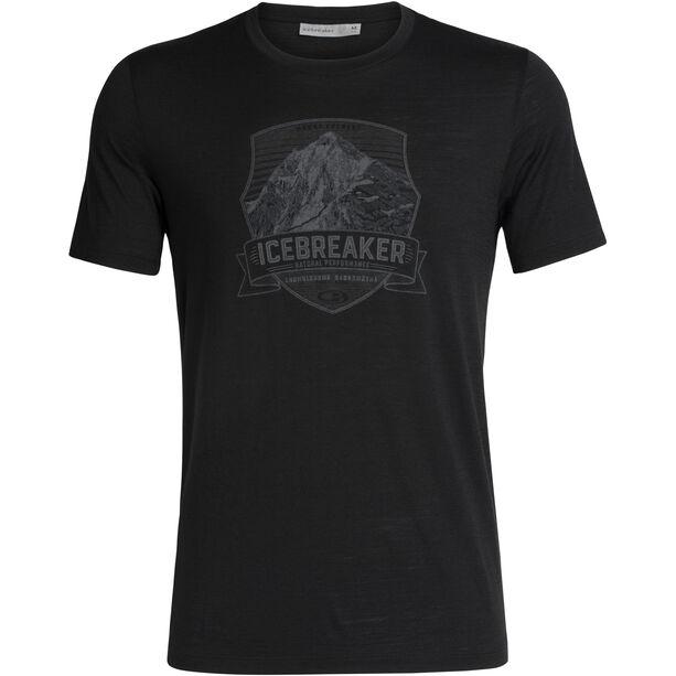 Icebreaker Tech Lite Everest Crest SS Crewe Shirt Herr Black
