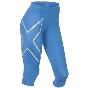 2XU Mid-Rise Compression 3/4 Tights Dam pacific blue/silver logo pacific blue/silver logo