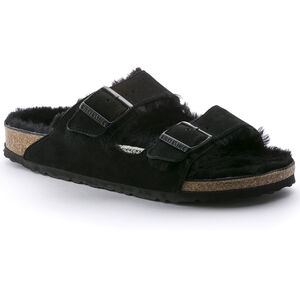 Birkenstock Arizona Sandals Suede Leather/Sheepskin Dam Black/Black Black/Black