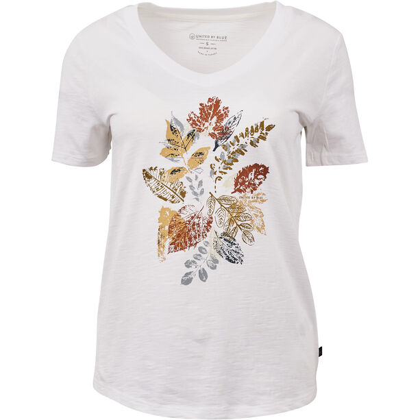 United By Blue Loose Leaf SS Graphic V-Neck Tee Dam White