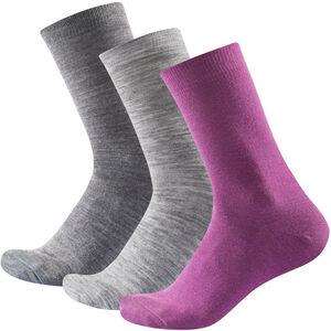Devold Daily Light Socks 3-Pack Dam anemone mix