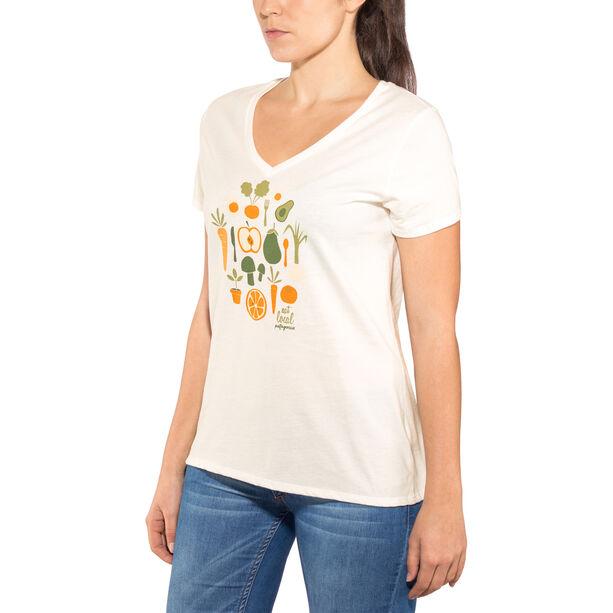 Patagonia Harvest Haul Organic V-Neck T-Shirt Dam white