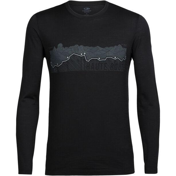 Icebreaker Tech Lite Haute Route LS Crewe Shirt Herr black