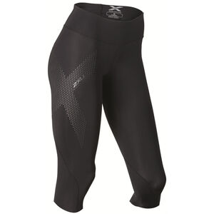 2XU Mid-Rise Compression 3/4 Tights Dam black/dotted reflective logo black/dotted reflective logo