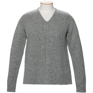 Alchemy Equipment 3GG Lambswool Tweed Relaxed V-Neck Pullover Dam Grey Tweed Grey Tweed