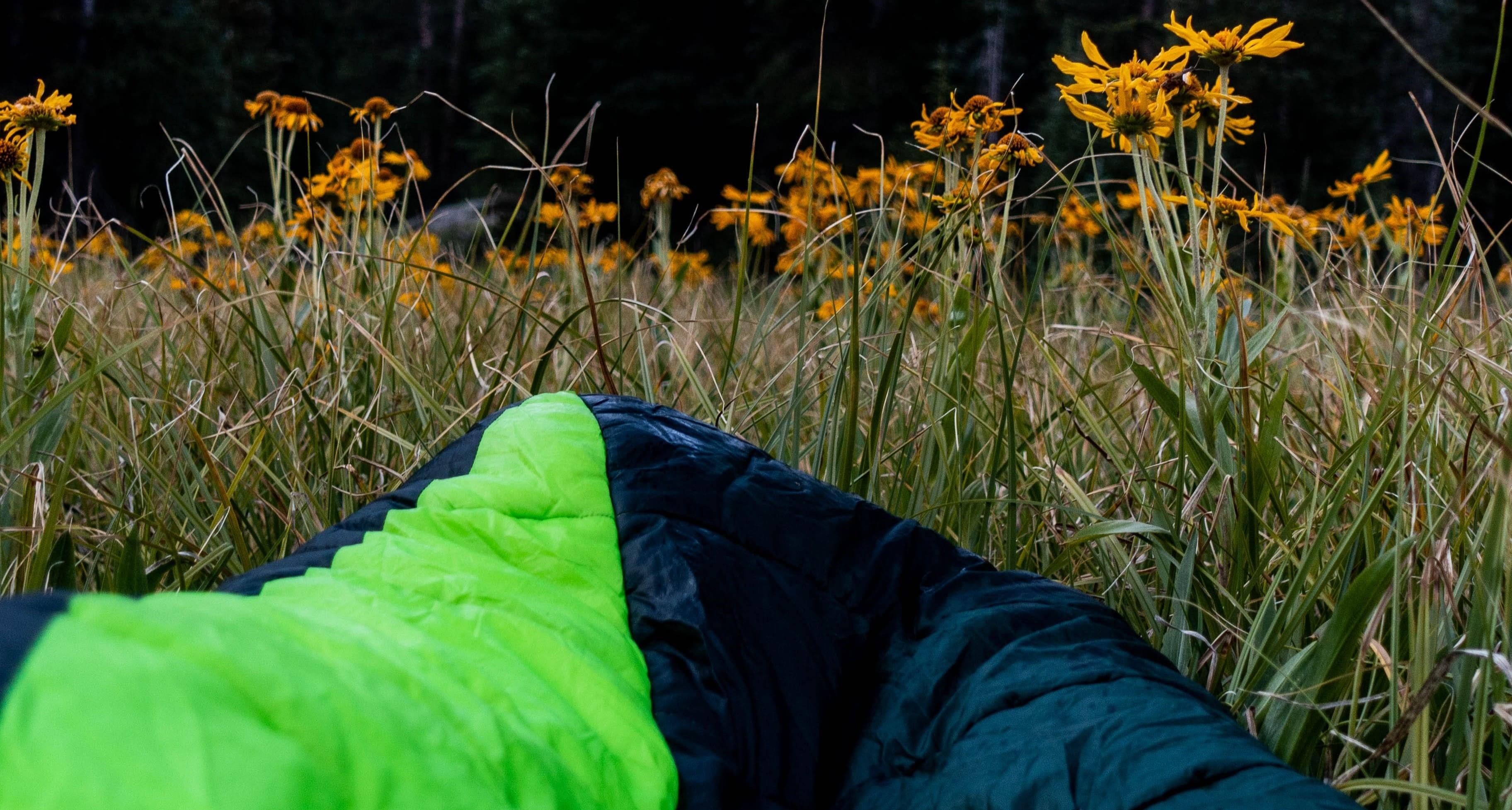 Sovsäck i gräset